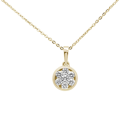 ".32ct 14K Yellow Gold Round Diamond Solitaire Pendant Necklace 16""+ 2"" Ext."