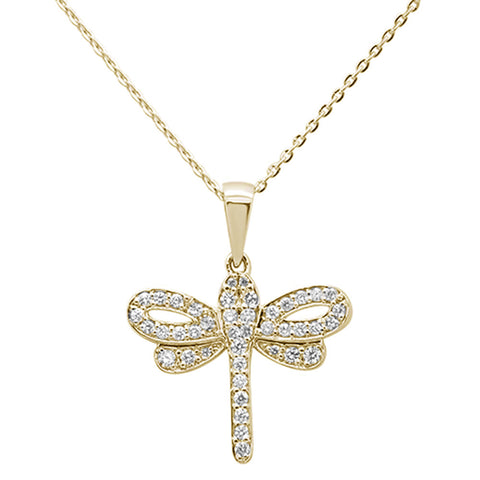 ".31ct 14K Yellow Gold Round Diamond Dragonfly Pendant Necklace 16""+ 2"" Ext."