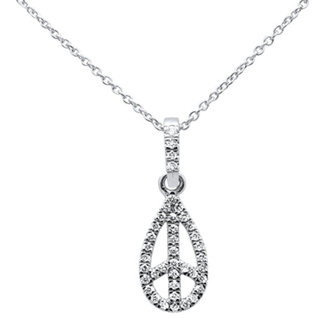".21ct 14kt White Gold Diamond Peace Sign Pendant Necklace 16""+ 2"" Ext"