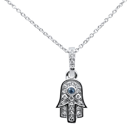 ".17ct 14kt White Gold Diamond Hand of Hamsa Pendant Necklace 16""+ 2"" Ext"