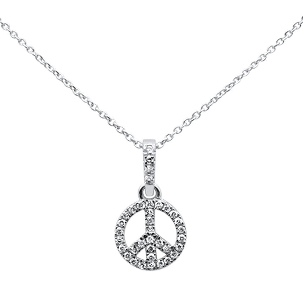 ".19ct 14kt White Gold Diamond Peace Sign Pendant Necklace 16""+ 2"" Ext"