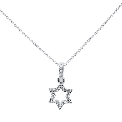 ".15ct 14kt White Gold Diamond Trendy Star Pendant Necklace 16""+ 2"" Ext"