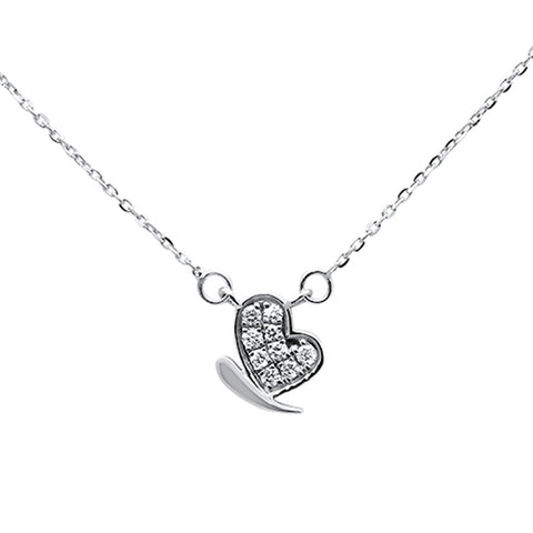 ".11ct 14kt White Gold Diamond Heart Pendant Necklace 16""+ 2"" Ext"