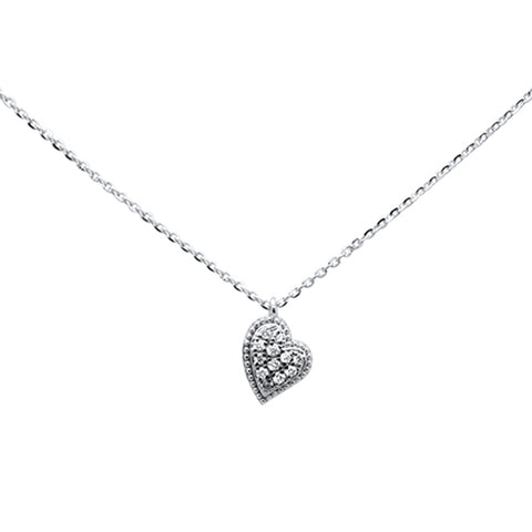 ".08ct 14kt White Gold Diamond Heart Pendant Necklace 16""+ 2"" Ext"