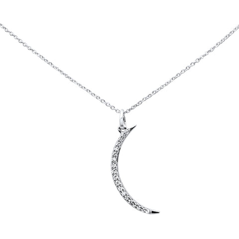 ".16ct 14kt White Gold Diamond Crescent Moon Pendant Necklace 16""+ 2"" Ext"