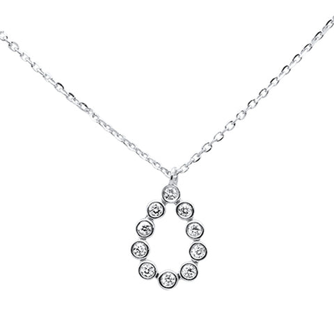 ".10ct 14kt White Gold Diamond Bezel Set Pendant Necklace 16""+ 2"" Ext"