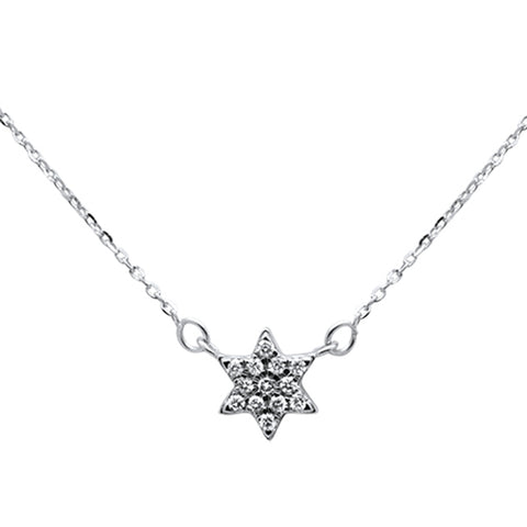 ".10ct 14kt White Gold Star Diamond Pendant Necklace 16""+ 2"" Ext"