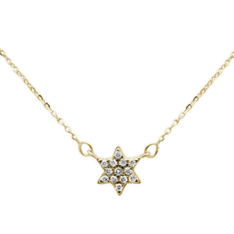 .09ct 14K Yellow Gold Star Celestial Pendant Necklace