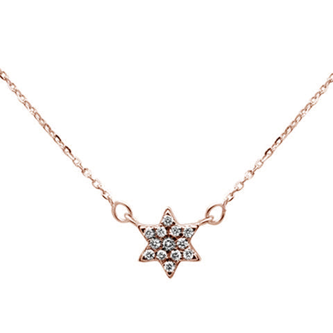 .09ct 14K Rose Gold Star Celestial Pendant Necklace