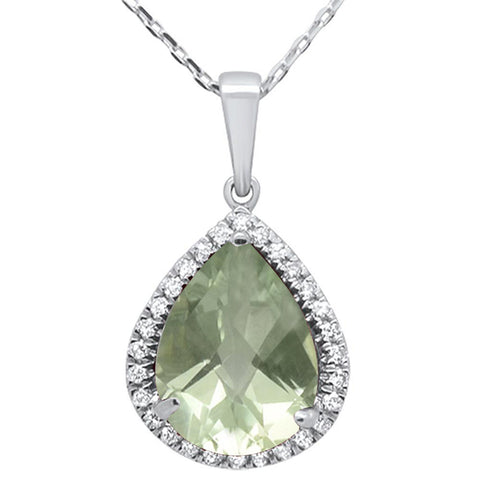 "3.48ct 14kt White Gold Pear Green Amethyst & Diamond Pendant 16""+2""ext"