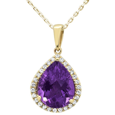 "3.71ct 14kt Yellow Gold Pear Amethyst & Diamond Pendant 16""+2""ext"