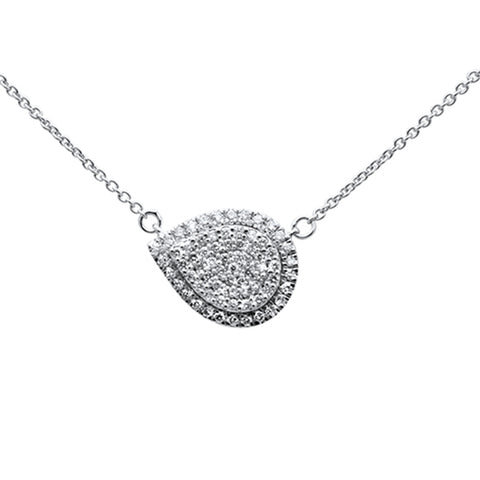 .26ct 14k White Gold Diamond Pear Shaped Pendant Necklace 18""