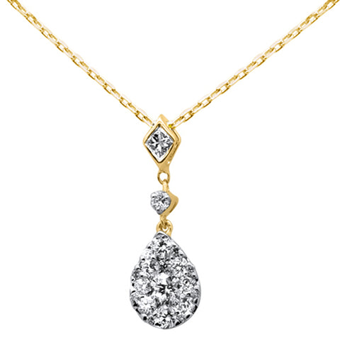 ".43ct 14k Yellow Gold Diamond Pear Shaped Drop Pendant Necklace 16""+Ext"
