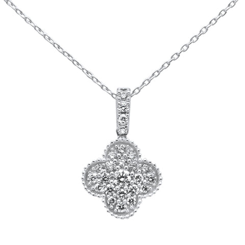 .27ct 14k White Gold Diamond Clover Shape Pendant Necklace 18""
