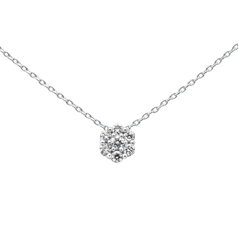 .15ct 14k White Gold Diamond Cluster Solitaire Pendant Necklace 18""
