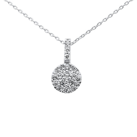 .24ct 14k White Gold Diamond Cluster Solitaire Pendant Necklace 18""