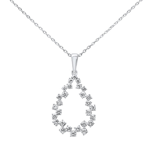 .38ct 14k White Gold Diamond Tear Drop Shape Pendant Necklace 18""