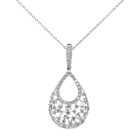 .51ct 14k White Gold Diamond Tear drop Pear Shape Pendant Necklace 18""