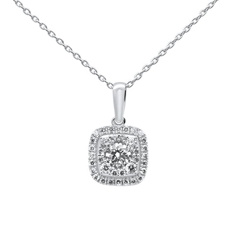 .38ct 14k White Gold Diamond Square Shape Solitaire Pendant Necklace 18""