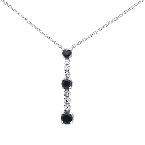 .15ct 14k White Gold Trendy! Sapphire & Diamond Line Pendant Necklace 18""