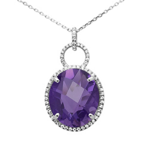11.15ct 10k White Gold Oval Amethyst & Diamond Pendant Necklace 18""