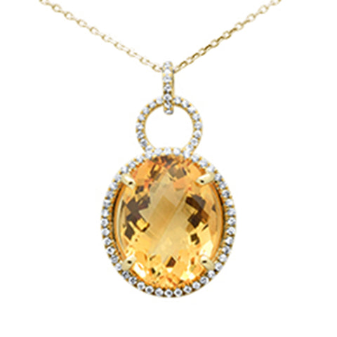 11.38ct 10k Yellow Gold Natural Oval Citrine & Diamond Pendant Necklace 18""