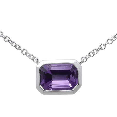 1.20ct 14k White Gold Natural Purple Amethyst Pendant Necklace 18""