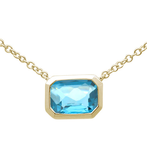 1.25ct 14k Yellow Gold Natural Emerald Cut Blue Topaz Pendant Necklace 18""