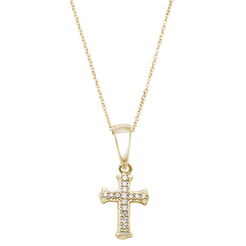 ".08ct 10kt Yellow Gold Round Diamond Cross Pendant 18"" Necklace"