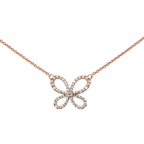 ".35ct 14k Rose Gold Diamond Butterfly Pendant Necklace 16"" + 2"" Ext"