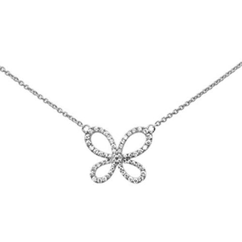 ".34ct 14k White Gold Diamond Butterfly Pendant Necklace 16"" + 2"" Ext"
