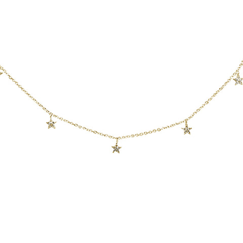 ".09ct 14K Yellow Gold Diamond Dangling Stars Necklace 16"" + 2"" Ext"
