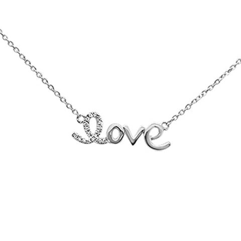 ".03ct 14K White Gold Diamond ""Love"" Script Pendant Necklace 16"" + 2"" Ext."