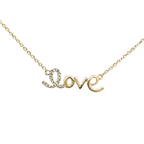 ".03ct 14K Yellow Gold Diamond ""Love"" Script Pendant Necklace 16"" + 2"" Ext."