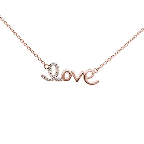 ".03ct 14K Rose Gold Diamond ""Love"" Script Pendant Necklace 16"" + 2"" Ext."