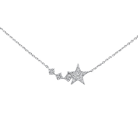 ".16ct 14K White Gold Diamond Pendant Star Necklace 16"" + 2"" Ext"