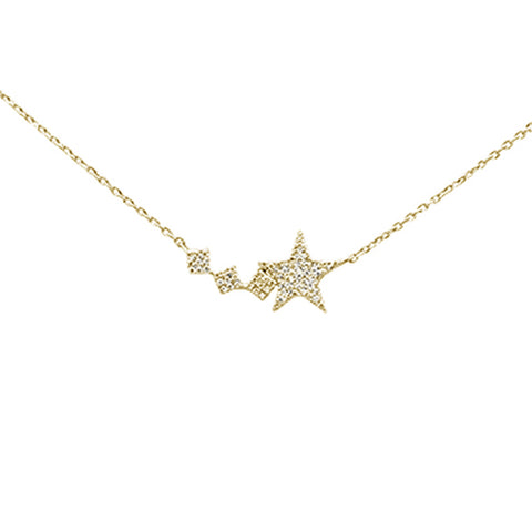 ".15ct 14K Yellow Gold Diamond Star Pendant Necklace 16"" + 2"" Ext"