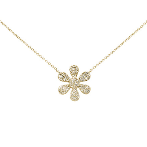 ".27ct 14K Yellow Gold Diamond Flower Pendant Necklace 16"" + 2"" Ext"