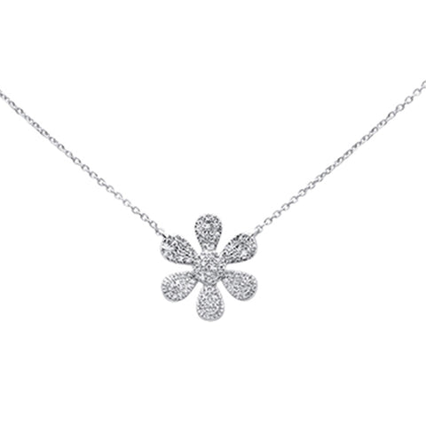 ".27ct 14K White Gold Diamond Flower Pendant Necklace 16"" + 2"" Ext"