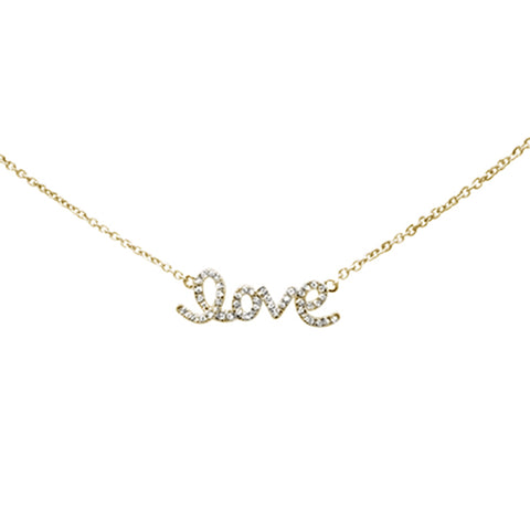 ".08ct 14K Yellow Gold Love Script Diamond Necklace 16"" + 1"" Ext"