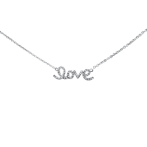 ".08ct 14K White Gold Love Script Diamond Necklace 16"" + 1"" Ext"
