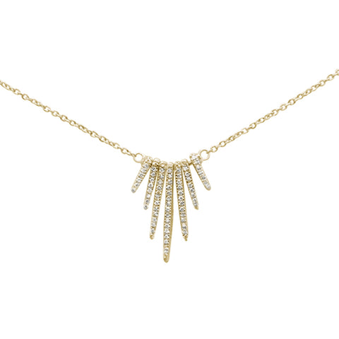 ".18ct 14K Yellow Gold Trendy Modern Diamond Necklace 16"" + 1"" Ext"
