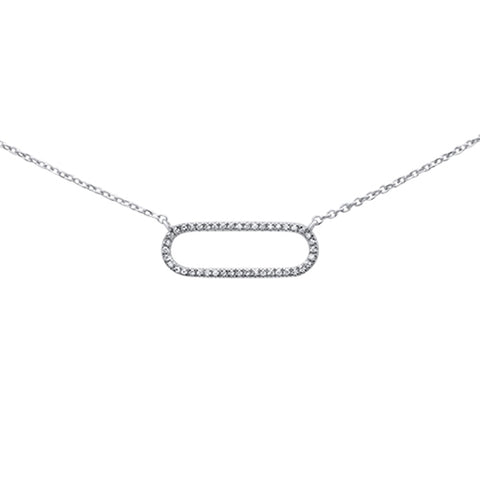 ".08ct 14K White Gold Diamond Oval Modern Necklace 16"" + 1"" Ext"