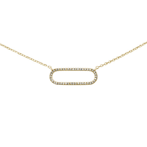 ".08ct 14K Yellow Gold Diamond Oval Modern Necklace 16"" + 1"" Ext"