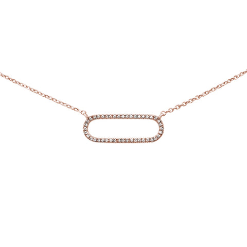 ".08ct 14k Rose Gold Diamond Modern Oval Necklace 16"" + 1"" Ext"
