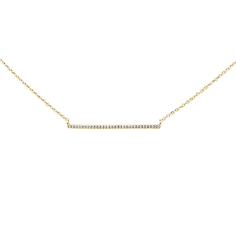 ".06ct 14k Yellow Gold Diamond Bar Line Pendant Necklace 16"" + 1"" Ext"