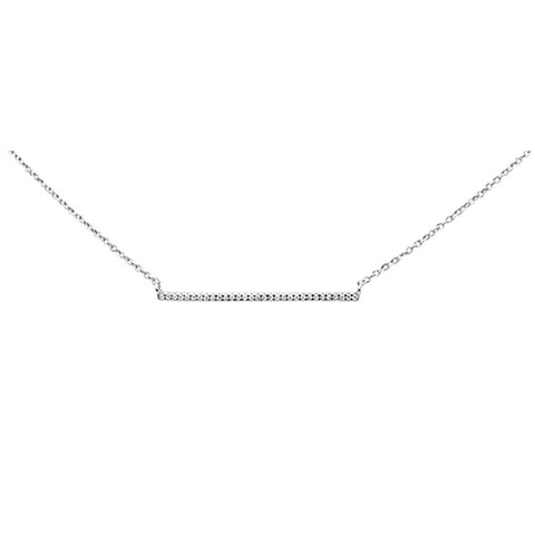 ".06ct 14K White Gold Diamond Line Bar Pendant Necklace 16"" + 1"" Ext"
