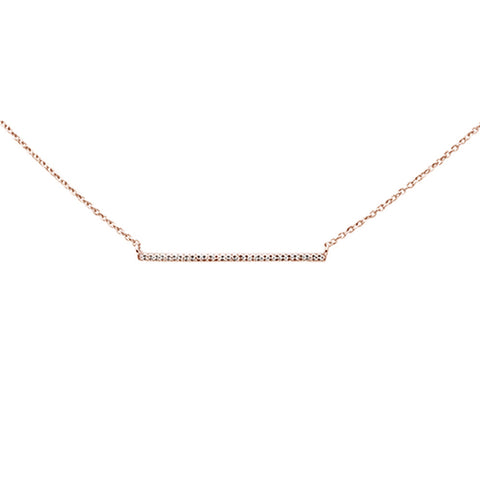 ".07ct 14k Rose Gold Diamond Bar Pendant Necklace 16"" + 1"" Ext"