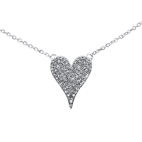 ".16ct 14K White Gold Trendy Modern Heart Diamond Necklace 16"" + 1"" Ext"