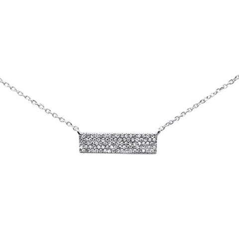 ".19ct 14K White Gold Modern Diamond Bar Necklace 16"" + 1"" Ext"